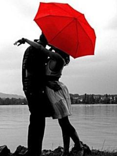 Love Red Umbrella Mobile Wallpaper
