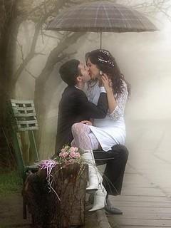 Love In Rain Mobile Wallpaper