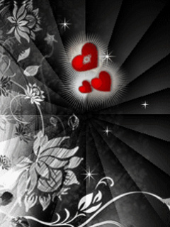 Hearts Black Flowers Mobile Wallpaper