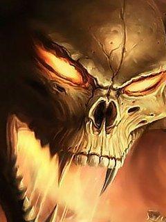 Dangrous Burning Skull Mobile Wallpaper