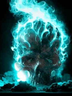 Blue Flame Skull Mobile Wallpaper