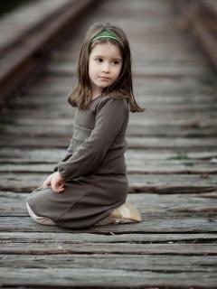 Girl On Train Track Mobile Wallpaper