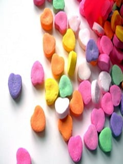 Colorful Candy Heart Mobile Wallpaper