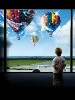 Rainbow Balloons Mobile Wallpaper