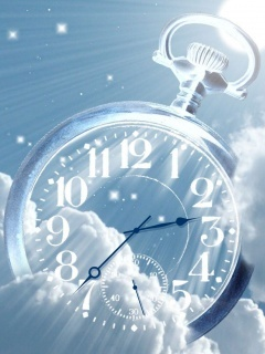 Blue Cloudy Clock Mobile Wallpaper