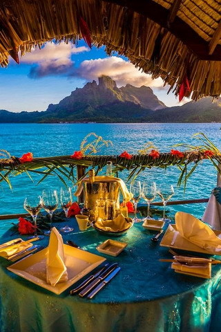 Nice View Beach Blue Water And Dinein Table Mobile Wallpaper