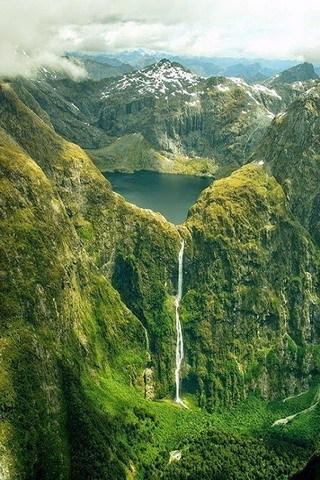 Waterfalls Mountain Green Natue Lake  Mobile Wallpaper
