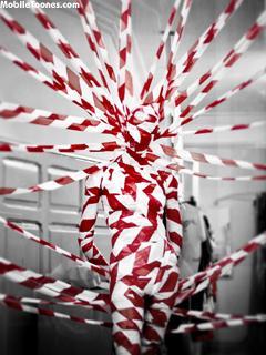 Red & White Strips Mobile Wallpaper