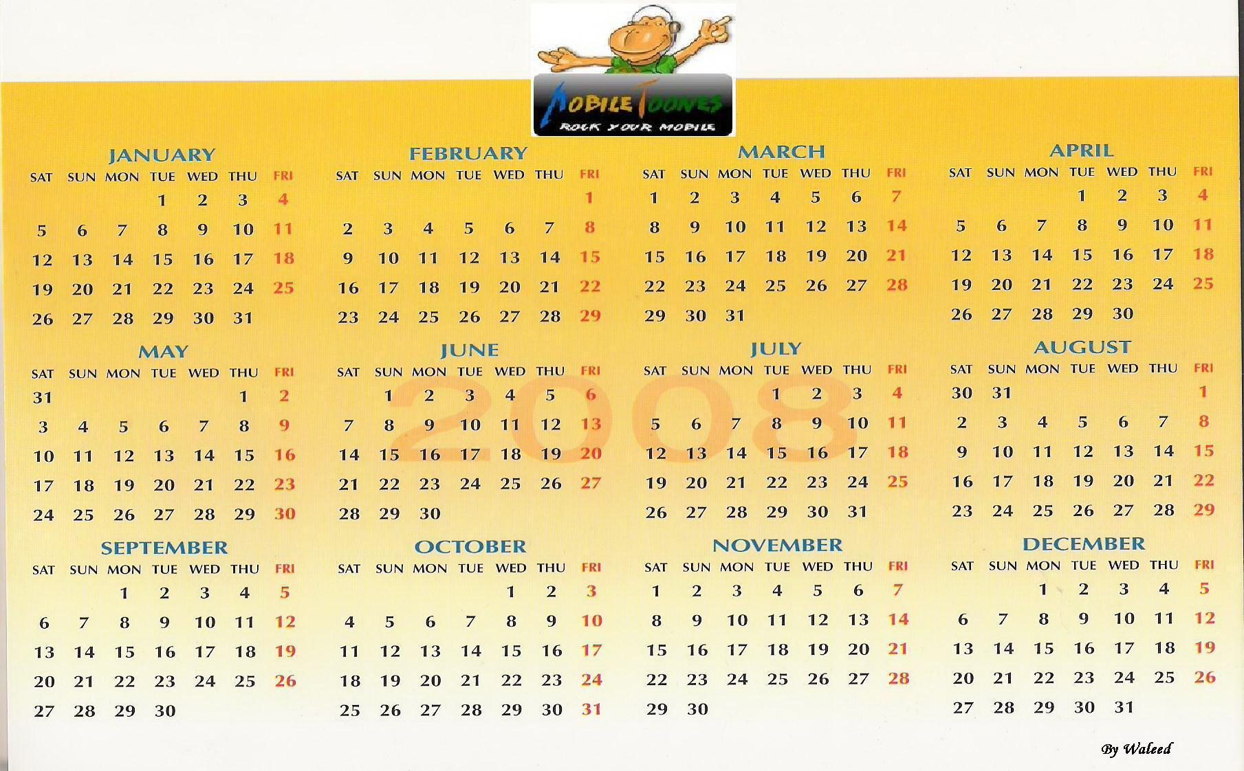 Calendar 2008 From Mobile Toones Mobile Wallpaper