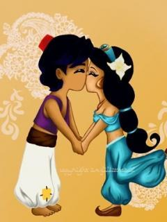 Aladdin Kiss Mobile Wallpaper