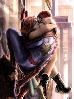 Spider Man Kiss Mobile Wallpaper