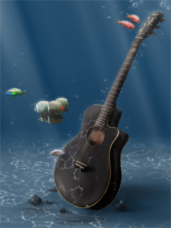 Guitar Underwater Wallpaper Mobile Wallpaper
