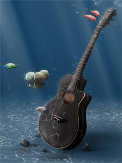 Guitar Underwater Wallpaper Mobile Wallpaper