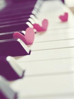Piano Hearts Mobile Wallpaper