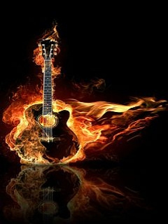 Burning Guitar Mobile Wallpaper