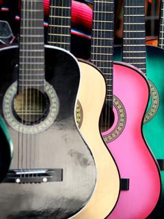 Colourful Guitars Mobile Wallpaper