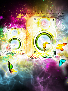 Color Butterfly And Speakers Mobile Wallpaper