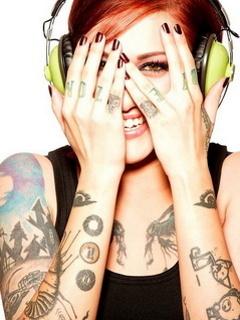 Tatto Music Girl Mobile Wallpaper
