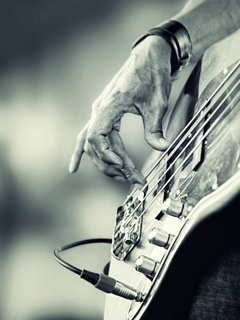 Playing Bass Mobile Wallpaper