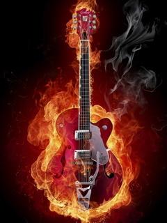Fire Guitar Mobile Wallpaper