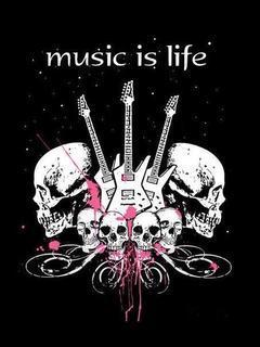 Skull Guitar Mobile Wallpaper