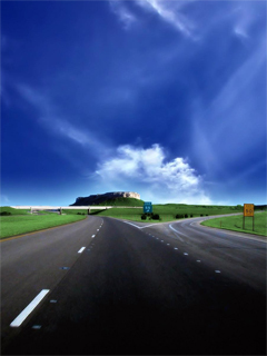 Blue Cloudy Sky And Road View Wallpaper Mobile Wallpaper