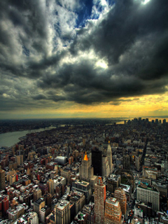 Cloudy City View  Mobile Wallpaper