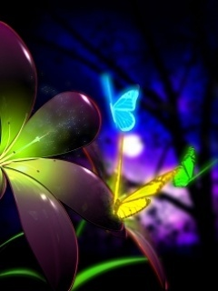 Neon Butterfly Mobile Wallpaper