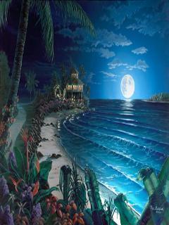 Moon N Sea Mobile Wallpaper