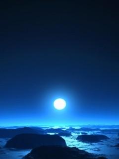 Moon N Blue Sea Sky Mobile Wallpaper
