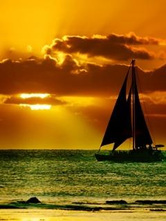 Sailing Sunset Mobile Wallpaper