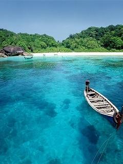 Alone Boat And Sea Mobile Wallpaper