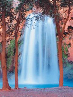 White Waterfalls Mobile Wallpaper