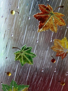 Leaf And Rain Mobile Wallpaper