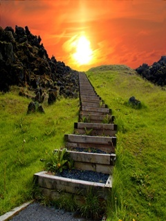 Stair To Sun Mobile Wallpaper