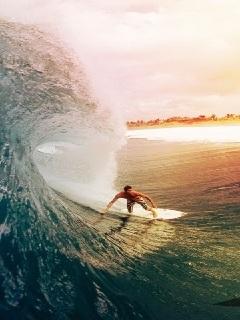 Ocean Surfing Mobile Wallpaper