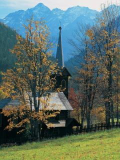 Church In Mointains Mobile Wallpaper