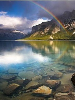 Rainbow Over Water Mobile Wallpaper