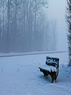 Snow Bench Mobile Wallpaper