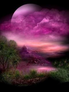 Pink Sky N Moon Mobile Wallpaper