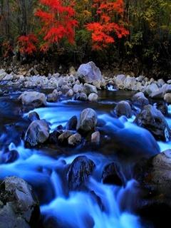 Blue Water Stones Mobile Wallpaper