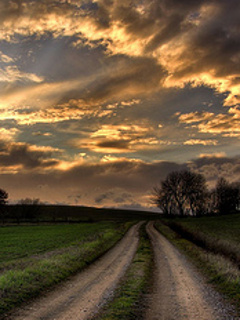 Road N Clouds Mobile Wallpaper