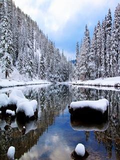 Winter River Mobile Wallpaper