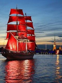 Red Ship Mobile Wallpaper