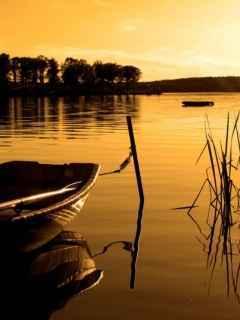 Sunset N Boat Mobile Wallpaper
