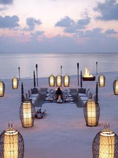 Beach Tables Mobile Wallpaper