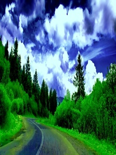 Green Ske Road Mobile Wallpaper