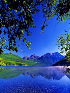 Blue Lake Mountains Mobile Wallpaper