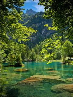 Blue Lake Kandersteg Mobile Wallpaper