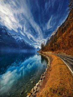 Lake And Road Mobile Wallpaper